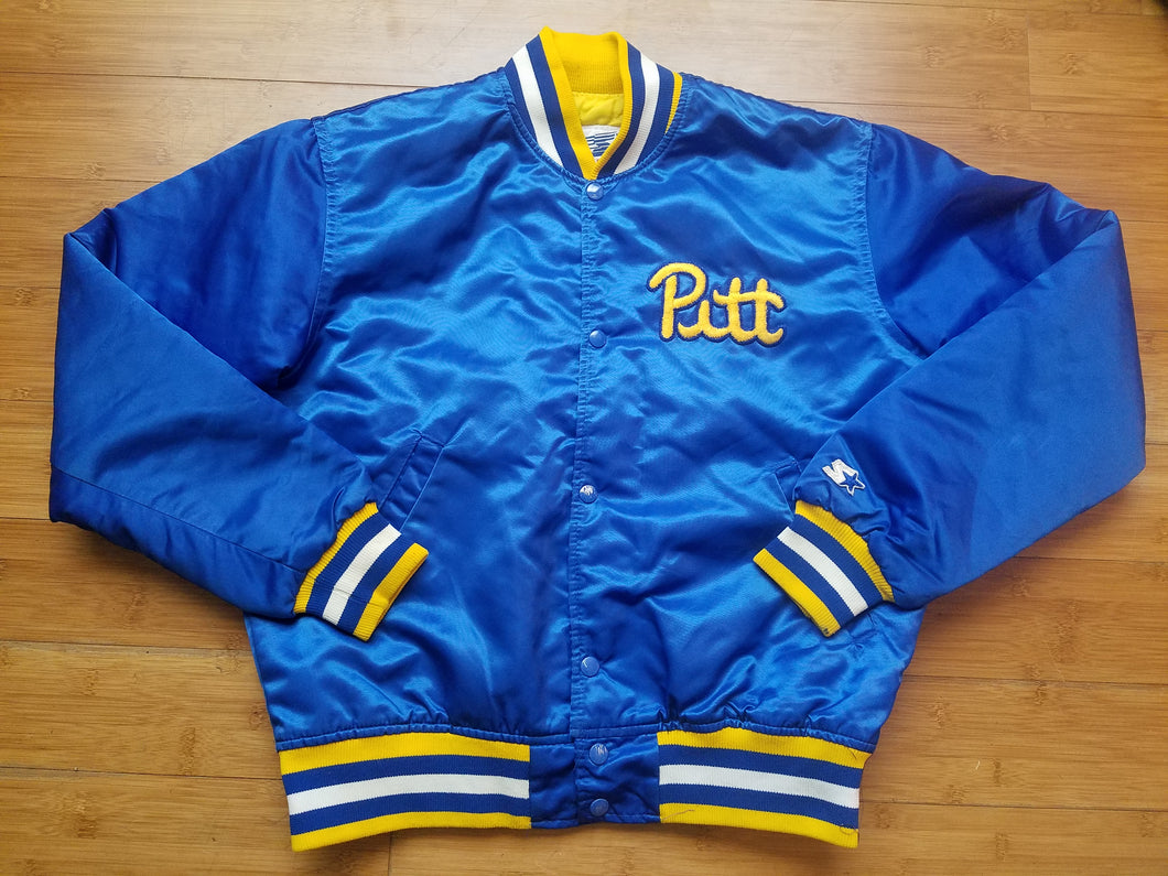 Vintage Mens Starter Pittsburgh Pitt Panthers Satin Jacket Size Medium-Blue