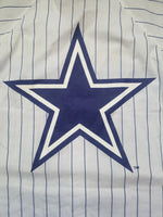 Mens Dallas Cowboys Pinstripe Button Up Jersey-White