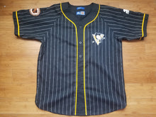 Load image into Gallery viewer, Vintage Mens Starter Pittsburgh Penguins Pinstripe Jersey Size Large-Black