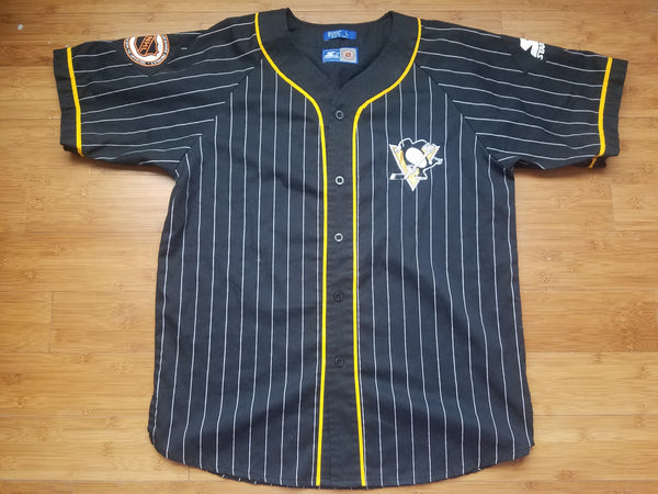 Vintage Mens Starter Pittsburgh Penguins Pinstripe Jersey Size Large-Black