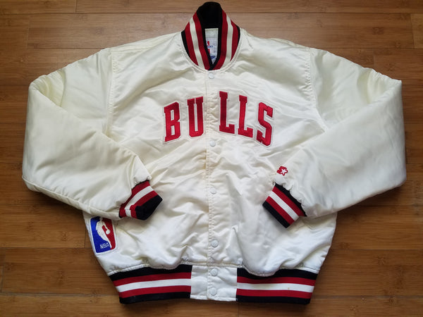 Vintage Mens Starter Chicago Bulls Satin Jacket Size Large-White.