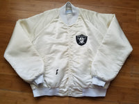 Rare Vintage Chalk Line Los Angeles/Oakland/Las Vegas Raiders Satin Jacket Size Large-White.