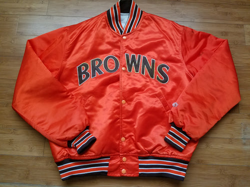 Rare Vintage Mens Starter Cleveland Browns Satin Jacket Size Large-Orange