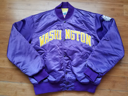 Vintage Mens Starter Washington Huskies Satin Jacket Size Large-Purple