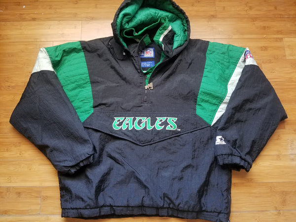 Vintage Mens Starter Philadelphia Eagles 3/4 Pullover Jacket Size Large-Black