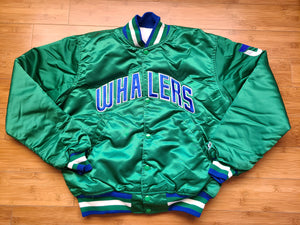 Vintage Mens Starter Hartford Whalers Spellouut Satin Jacket Size Medium-Green