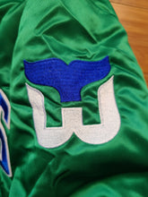 Load image into Gallery viewer, Vintage Mens Starter Hartford Whalers Spellouut Satin Jacket Size Medium-Green