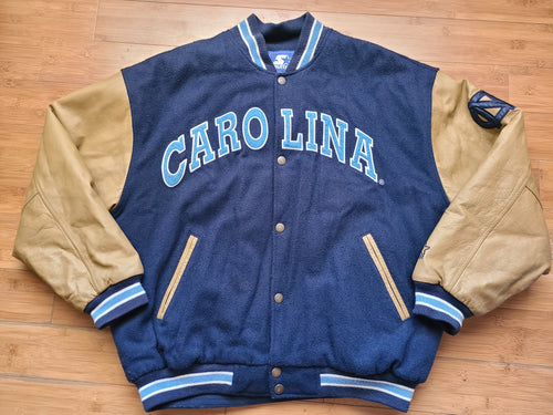 Vintage Mens Starter North Carolina Tar Heels Letterman Jacket Size XL-Navy Blue