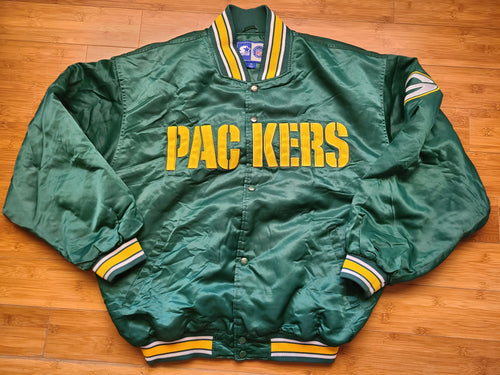 Vintage Mens Starter Green Bay Packers Satin Jacket Size XL-Green