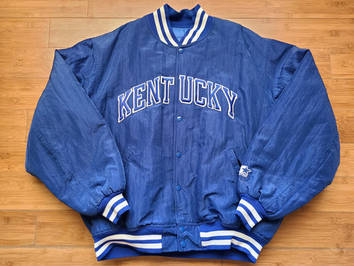 Vintage Mens Starter Kentucky Wildcats Button Up Jacket Size XL-Blue