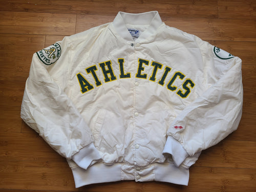 Vintage Mens Swingster Oakland Athletics Spellout Jacket Size Medium-White