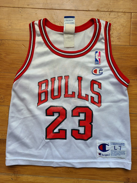 Vintage Toddler Champion Chicago Bulls Michael Jordan Jersey Size Large/7-White