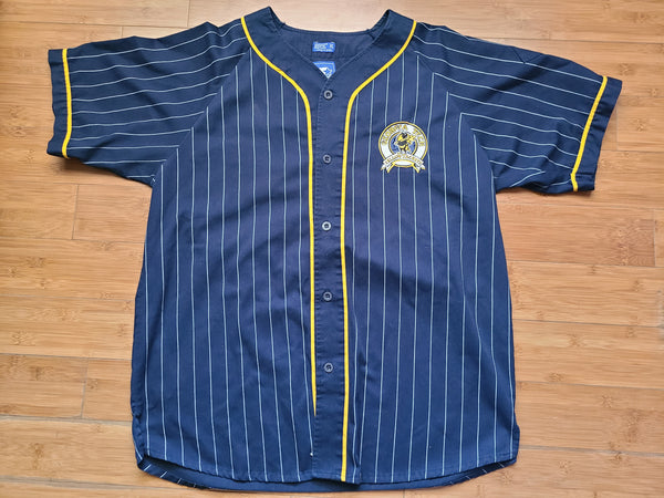 Vintage Mens Starter Georgia Tech Pinstripe Button Up Jersey Size XL-Navy Blue