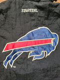 Vintage Mens Starter Buffalo Bills 3/4 Pullover Jacket Size Medium-Black.