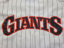 Load image into Gallery viewer, Vintage Mens Starter San Francisco Giants Pinstripe Button Up Jersey Size Medium-White