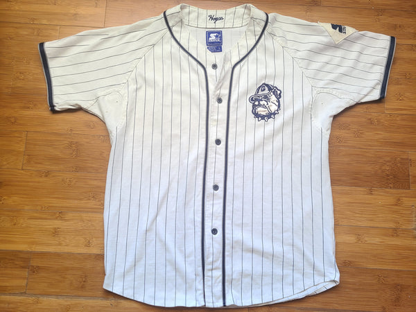 Vintage Mens Starter Georgetown Hoyas Pinstripe Button Up Jersey Size Large-White