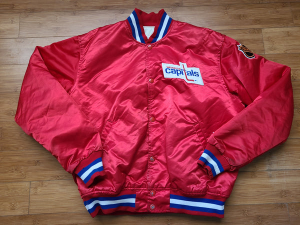 Vintage Mens Starter Washington Capitals Satin Jacket Size Large-Red