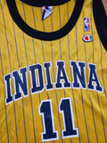 Vintage Mens Champion Indiana Pacers Jamaal Tinsley Jersey Size 44-Gold