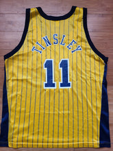 Load image into Gallery viewer, Vintage Mens Champion Indiana Pacers Jamaal Tinsley Jersey Size 44-Gold