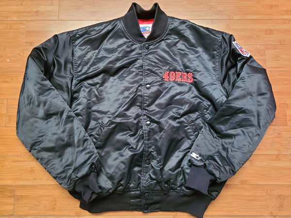 Vintage Mens Starter San Francisco 49ers Big Logo Satin Jacket Size XL-Black