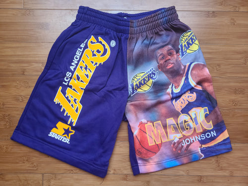Vintage Mens Starter Los Angeles Lakers Magic Johnson Shorts Size Small-Purple