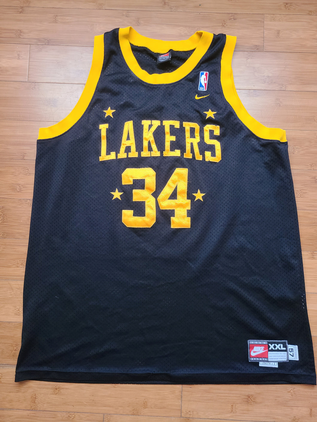 Vintage Mens Nike Los Angeles Lakers Shaquille O'neal Jersey Size XXL-Black