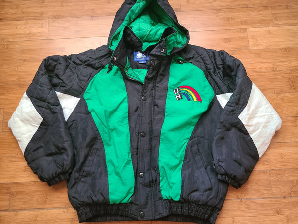Vintage Mens Starter Hawaii Rainbow Warriors Button/Zip Up Jacket Size Large-Black