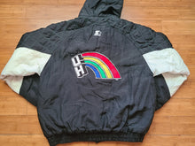 Load image into Gallery viewer, Vintage Mens Starter Hawaii Rainbow Warriors Button/Zip Up Jacket Size Large-Black