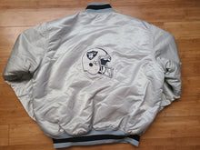 Load image into Gallery viewer, Vintage Mens Starter Los Angeles/Oakland/Las Vegas Raiders Satin Jacket Size XL-Silver