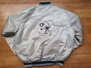Vintage Mens Starter Los Angeles/Oakland/Las Vegas Raiders Satin Jacket Size XL-Silver