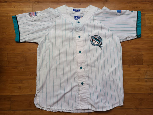 Vintage Mens Starter Florida Marlins Pinstripe Button Up Jersey Size XL-White