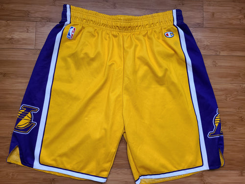Vintage Mens Champion Los Angeles Lakers Shorts Size XL-Gold