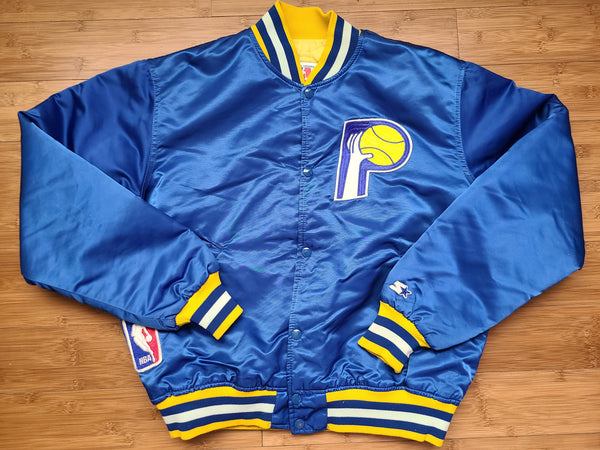 Rare Vintage Mens Starter Indiana Pacers Satin Jacket Size Large-Blue