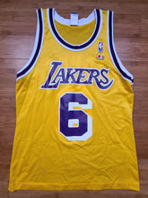 Load image into Gallery viewer, Vintage Mens Champion Los Angeles Lakers Eddie Jones Jersey Size 40-Gold