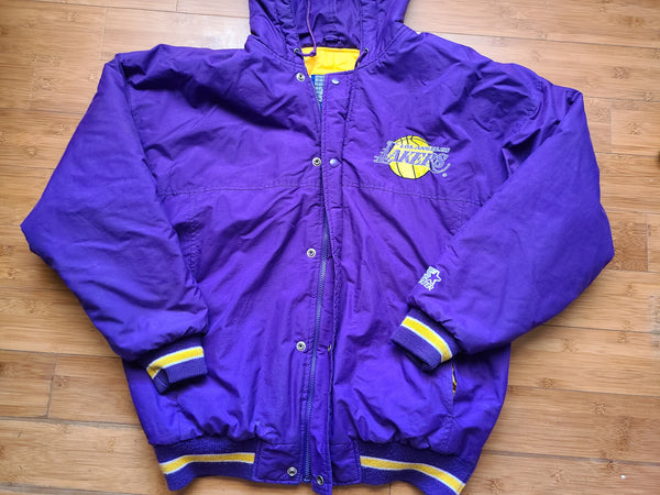 Vintage Mens Starter Los Angeles Lakers Button/Zip Up Jacket Size Large-Purple