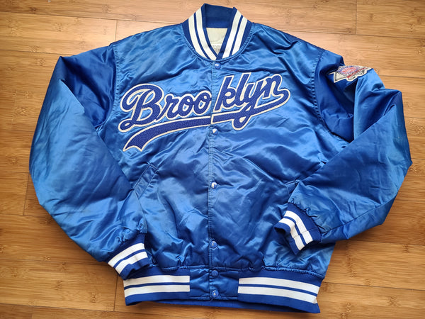 Vintage Mens Starter Brooklyn Dodgers Satin Jacket Size Large-Blue