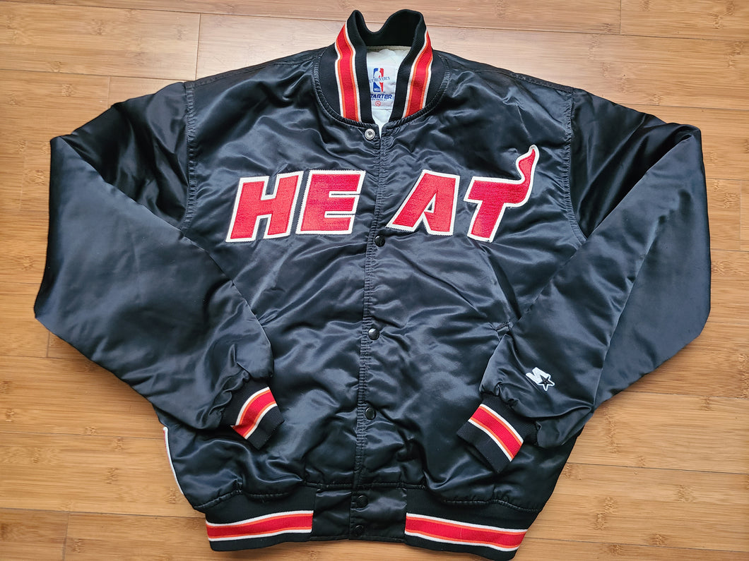 Vintage Mens Starter Miami Heat Satin Jacket Size XL-Black
