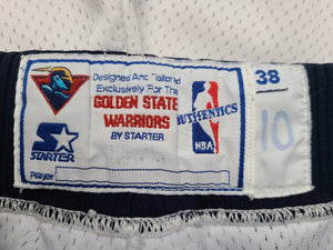 Vintage Mens Starter Golden State Warriors Authentic Game Issued Shorts Size 38-White
