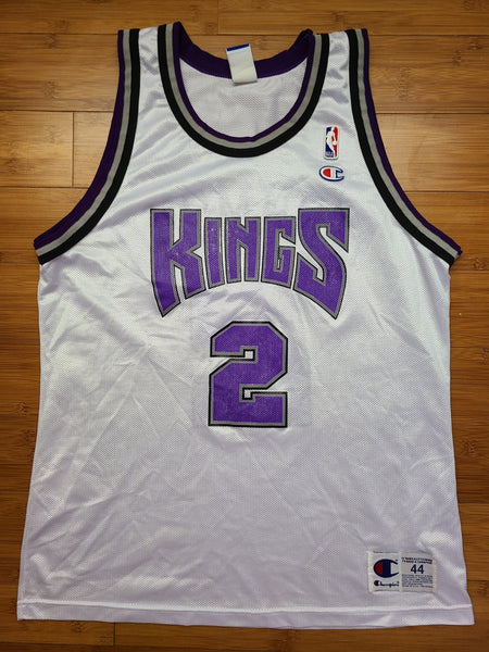 Vintage Mens Champion Sacramento Kings Mitch Richmond Jersey Size 44-White