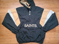 Vintage Mens Starter New Orleans Saints 3/4 Pullover Hooded Windbreaker Jacket Size Large-Black