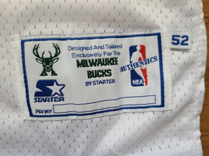 Vintage Mens Starter Milwaukee Bucks Terrell Brandon Authentic Jersey Size 52-White