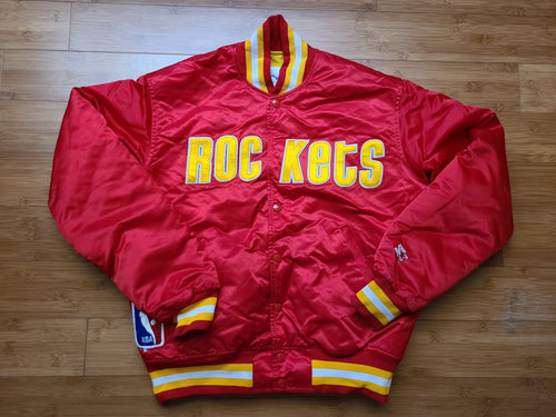 Vintage Mens Starter Houston Rockets Satin Jacket Size Medium-Red