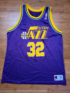 Vintage Mens Champion Utah Jazz Karl Malone Jersey Size 48-Purple