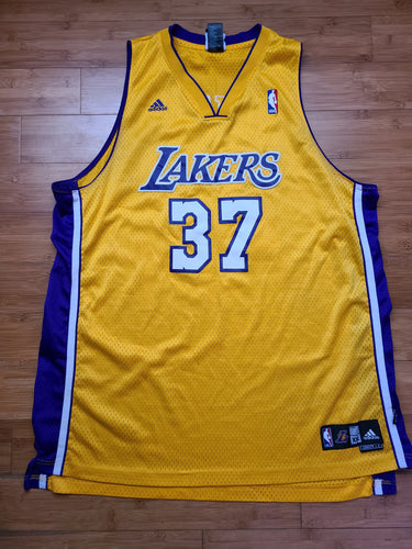 Vintage Mens Adidas Los Angeles Lakers Ron Artest Swingman Jersey Size XXL-Gold