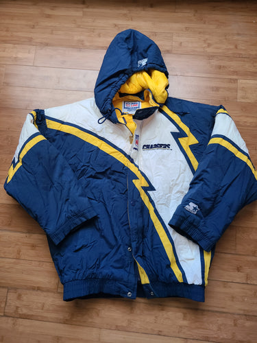 Rare Vintage Mens Starter San Diego/Los Angeles Chargers All Over Logo Jacket Size XL