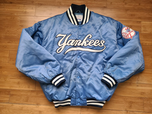 Vintage Mens Starter New York Yankees Satin Jacket Size XL-Baby Blue