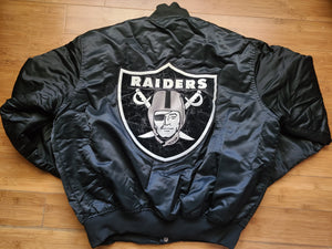 Vintage Mens Starter Los Angeles/Oakland/Las Vegas Raiders Big Logo Satin Jacket Size XL-Black