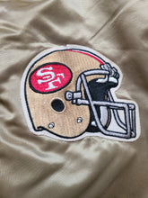 Load image into Gallery viewer, Vintage Mens Chalk Line San Francisco 49ers Satin Jacket Size Large-Gold