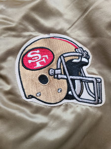 Vintage Mens Chalk Line San Francisco 49ers Satin Jacket Size Large-Gold