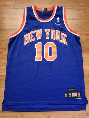 Vintage Mens Reebok New York Knicks Walt Frazier Jersey Size XL-Blue